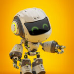 Gesturing white android robot toy MOCCO on colorful back