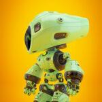 Unique green mod bot on bright back in profile