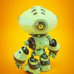 Unique green mod bot on bright back backwards