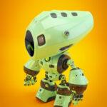 Unique green mod bot on bright back in profile upper angle