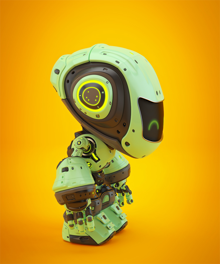 Green android robot toy MOCCO on colorful back side angle