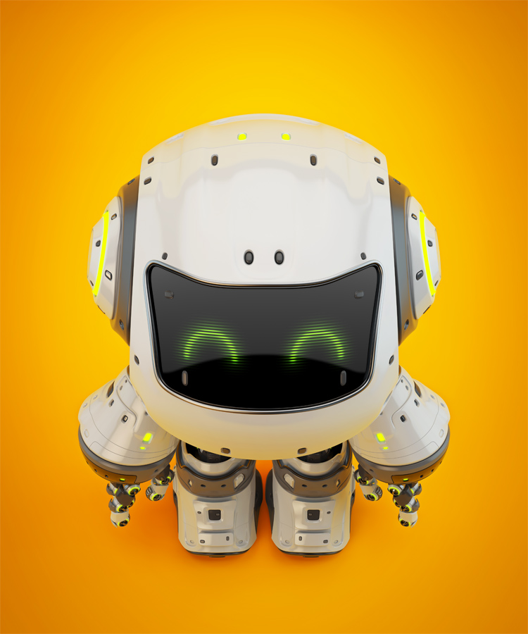 White android robot toy MOCCO on colorful back upper view II