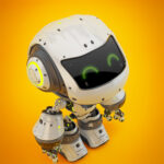 White android robot toy MOCCO in upper view