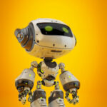 White android robot toy MOCCO on colorful back with funny ears looking up