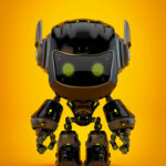 Black android robot toy MOCCO on colorful back with funny ears