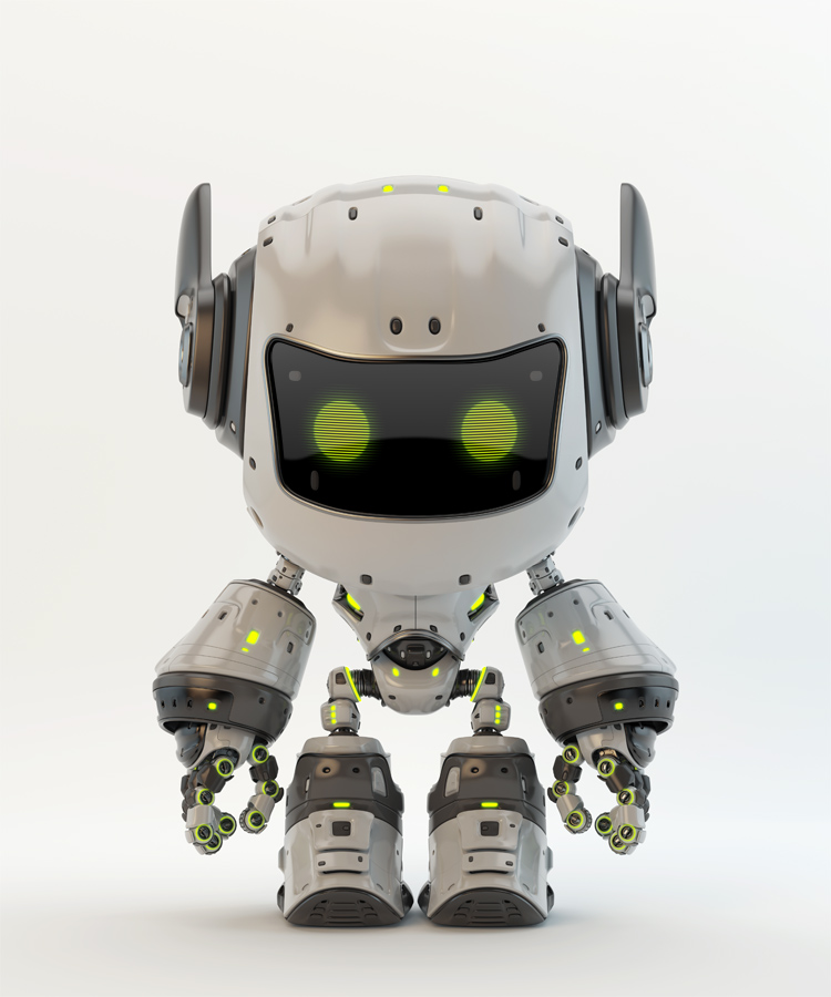 White android robot toy MOCCO with funny ears
