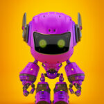 Violet android robot toy MOCCO on colorful back with funny ears