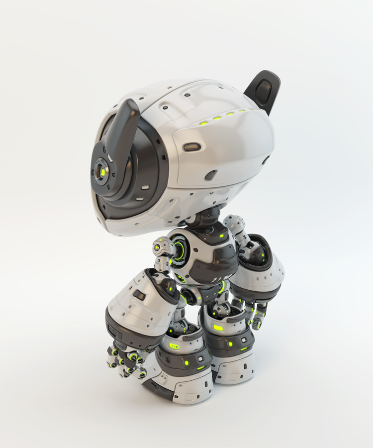 White android robot toy MOCCO with funny ears side-back