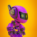 Violet android robot toy MOCCO on colorful back with funny ears in profile