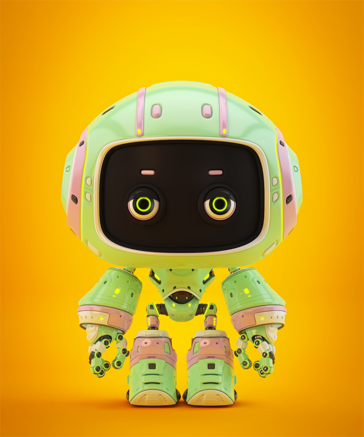 Cute green bot with real eyes and black face