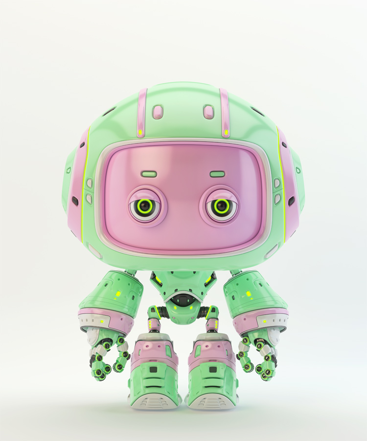 Cute green bot with real eyes and pink face