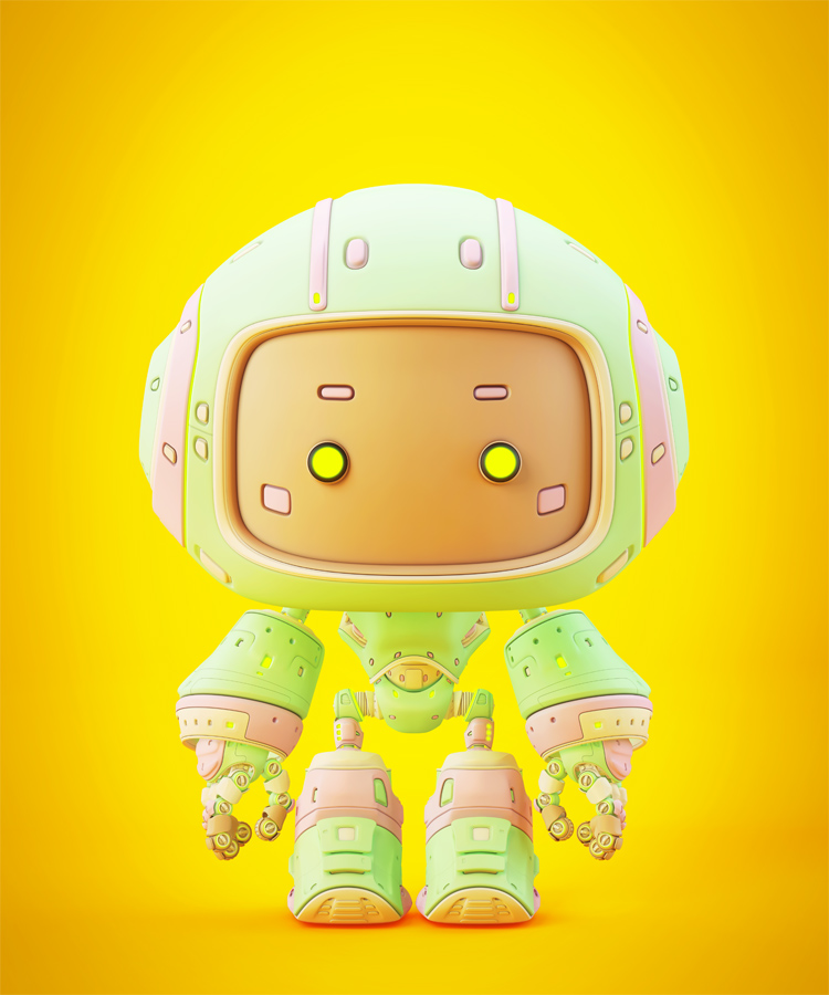 Cute candy green bot with button eyes