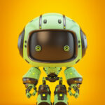 Cute green bot with real eyes and black face III