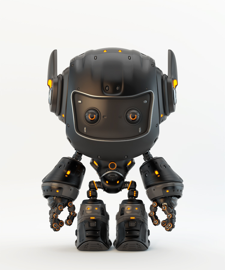Black robot toy MOCCO on colorful back with funny ears