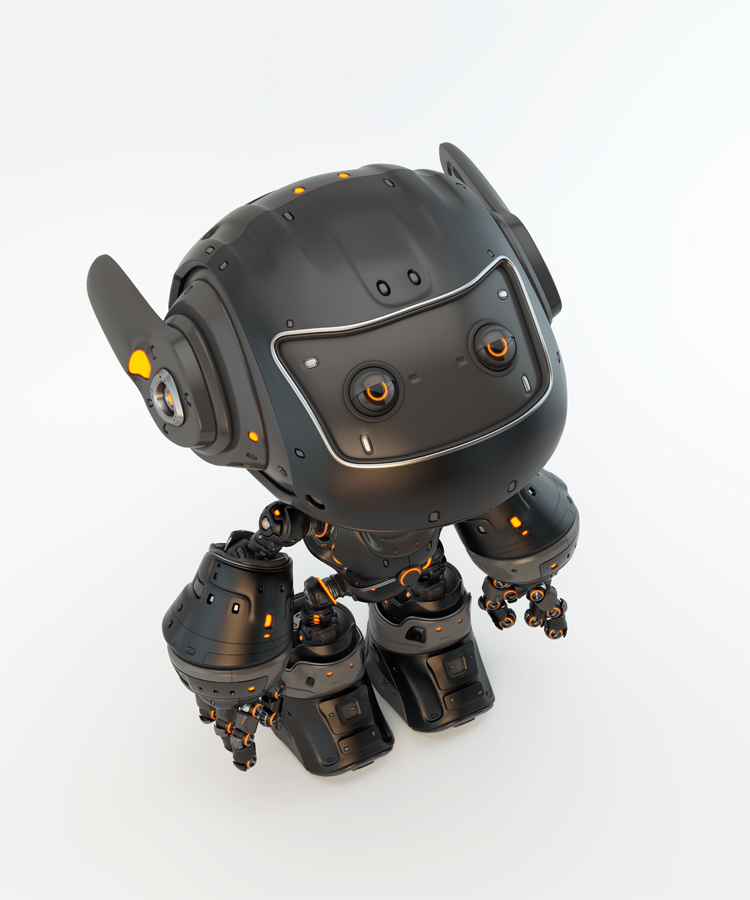 Black robot toy MOCCO on colorful back with funny ears in upper angle