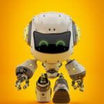 White android robot toy MOCCO on colorful back walking forward