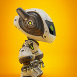 White android robot toy MOCCO on colorful back with funny ears in side angle
