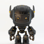 Black matte robot toy MOCCO with funny ears