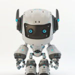 White-black robot toy MOCCO with funny ears
