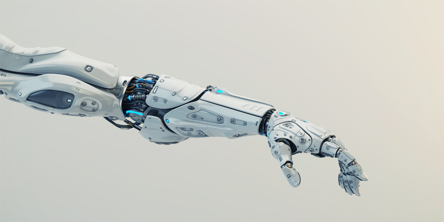 Sci-fi white robotic arm stretching to you, 3d rendering