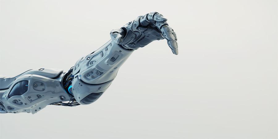White sci-fi robotic arm