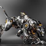 Steel robot panther on dark background VIII